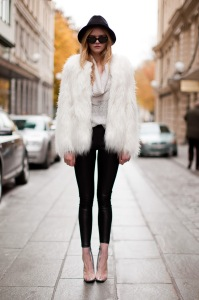 Fur - White - Coat - Leggings - Clear Heels - Josefin N